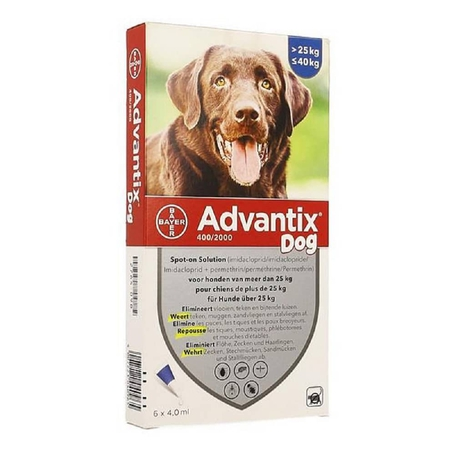 Advantix Dog 400/2000 Honden 25<40kg pipetten 6x4,0ml