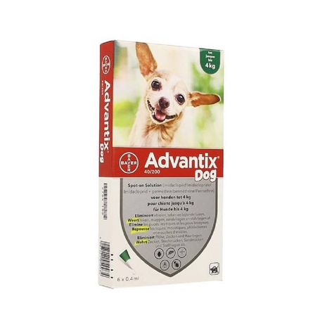 Advantix Dog 40/200 Chiens <4kg pipettes 6x0,4ml