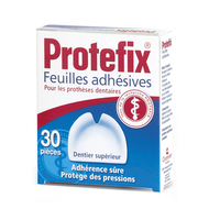 Protefix Feuilles adhesives prothese dentaire superieure 30pc