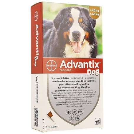 Advantix Dog 600/3000 Honden 40<60kg pipetten 6x6,0ml