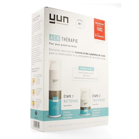 Yun ACN Therapy Crème + Wash contre acné peaux normales et grasses 2pc