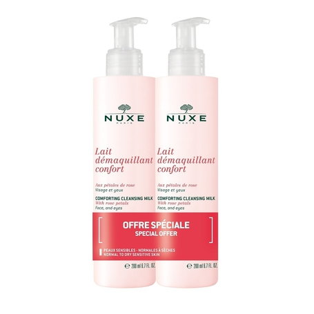 Nuxe Comfortabele reinigingsmelk met rozenblaadjes 2x200ml