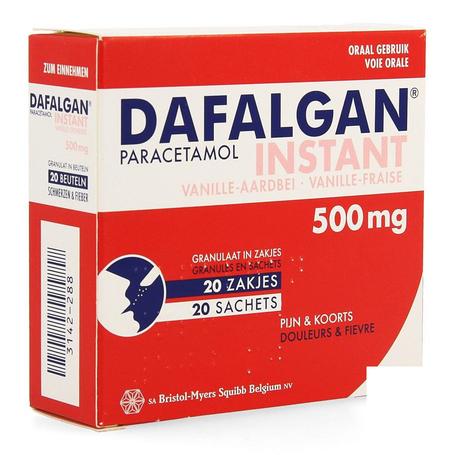 Dafalgan instant vanille aarbei zakjes 500mg 20st
