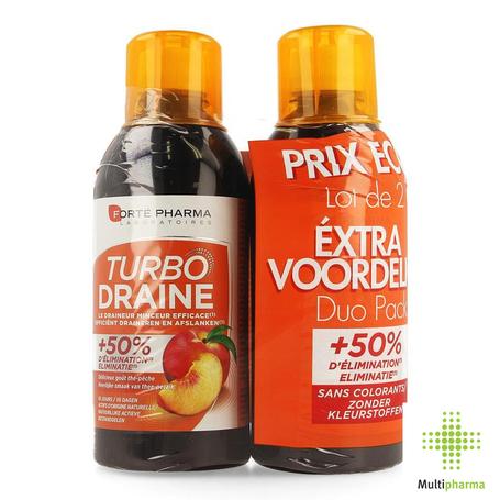 Fortepharma Turbodraine Thé Vert Peche duo 1000ml
