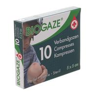Biogaze 10 compresses 5 x 5 cm