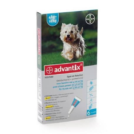 Advantix Dog 100/500 Chiens 4<10kg pipettes 6x1,0ml