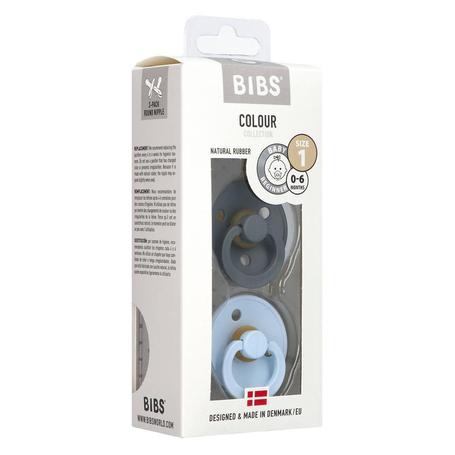 Bibs 1 Fopspeen duo iron baby blue 0-6maanden 2st