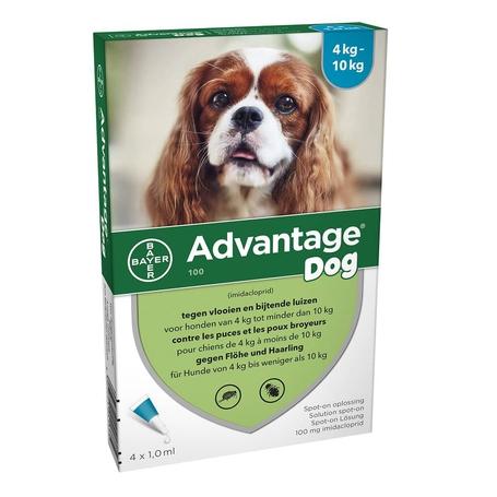 Advantage Dog 100 Chiens 4<10kg 4x1,0ml