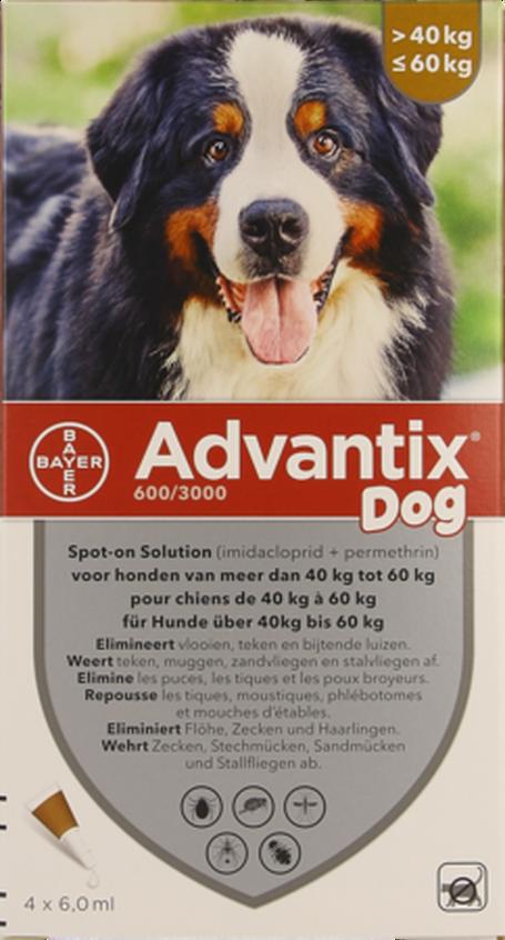 Advantix dog spot-on sol chien 40-60kg pipet 4x6ml
